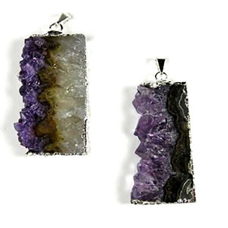 Silver Plated Amethyst Slice Pendant - Michael's Gems and Glass