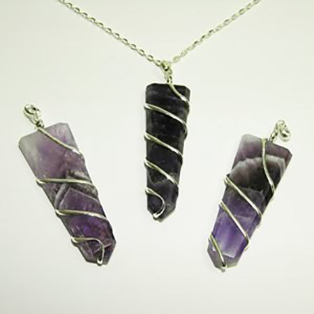 Flat-Point Coil Wrapped Pendants - Michael's Gems and Glass