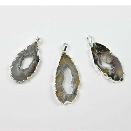 Silver Plated Geode Slice Pendant - Michael's Gems and Glass