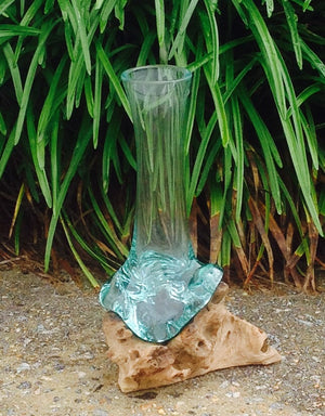 Melted glass vase on driftwood - Michael's Gems and Glass
