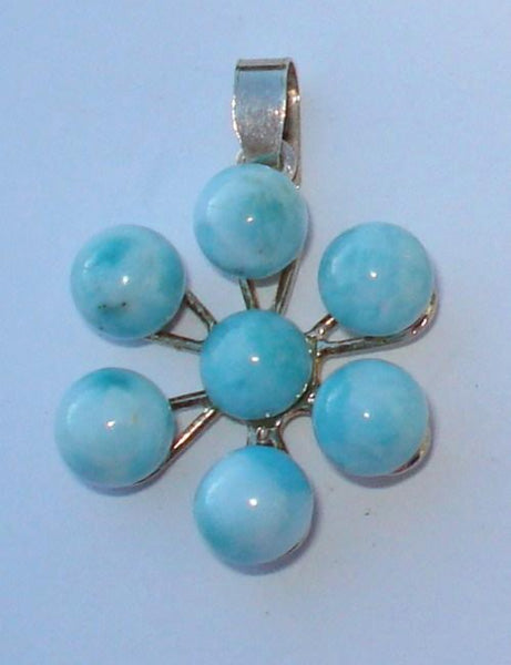 Larimar Flower Bead Pendant - Michael's Gems and Glass