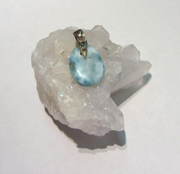 Larimar Oval Pendant - Michael's Gems and Glass