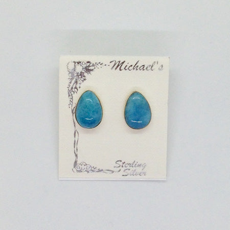 Larimar Teardrop Stud Earrings - Michael's Gems and Glass