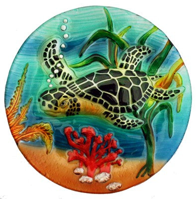 Handcrafted Fused Glass Plate, Sea Turtle