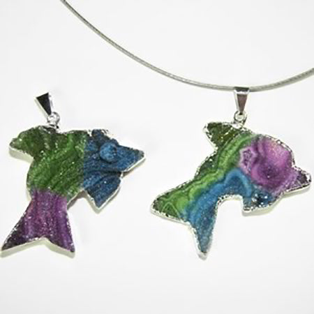 Rainbow Dyed Druze Pendants - Michael's Gems and Glass