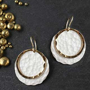 Hammered Disc and Ring Earring