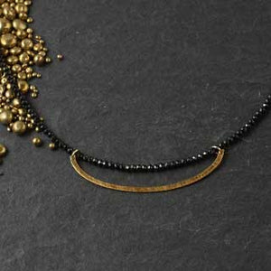 Faceted Black Spinel Necklace with Golden Crescent
