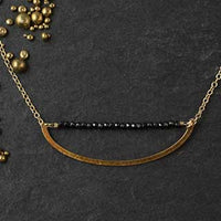 Golden Crescent with Tiny Black Spinel Bar