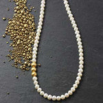 Classic Pearls with Golden Beads Necklace