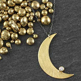 Crescent Moon with Tubeset CZ Necklace
