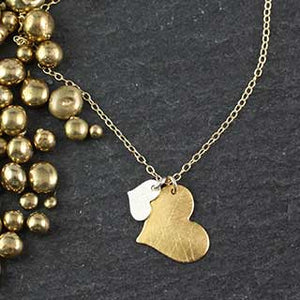 Big and Little Flat Heart Necklace
