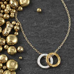 Heavy Double Hammered Ring Necklace