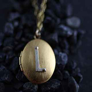 Riveted Initial Locket Necklace