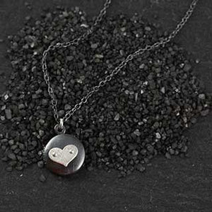 Tiny Locket with Riveted Heart Necklace