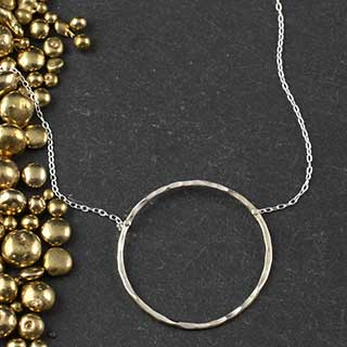 Hammered Ring Solitare Necklace