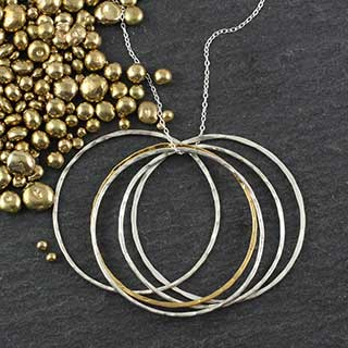 Large Layered Half Disc Necklace