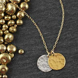 Double Hammered Disc Necklace