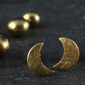 Tiny Moon Post Earrings