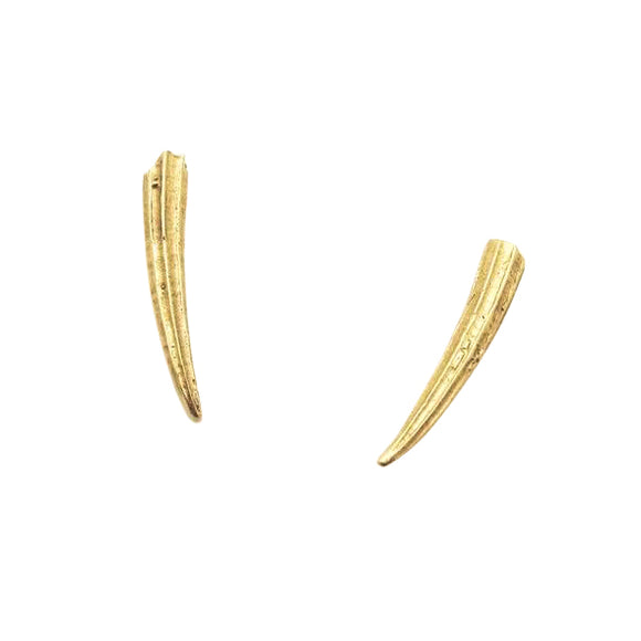 sterling silver, gold plated, 14k gold tusk earrings.  Animal horn stud earrings made from cast sea shells made by Georgia Varidakis