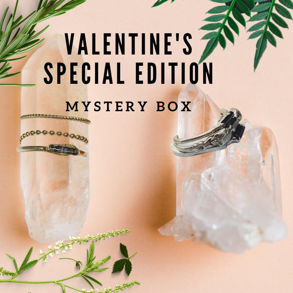 jewelry mystery box.  valentine's day gift. raw gemstone jewelry. ring crush