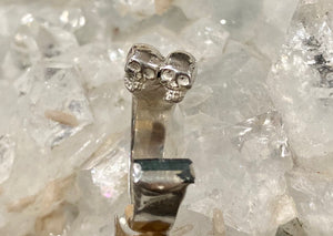 Sterling Silver Tourmaline and Skulls Ring - size 5 1/2 - 6 ONE OF A KIND