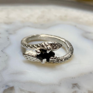 Snake ring with Black Tourmaline - size 6 -ONE OF A KIND