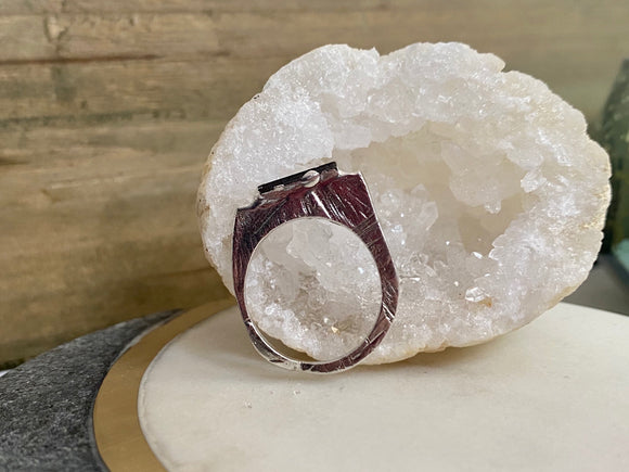 Sterling Silver Tourmaline Encrusted Stacking Ring - size 6- ONE OF A KIND