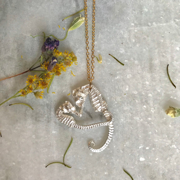Two seahorses making a heart. Necklace by Georgia Varidakis
