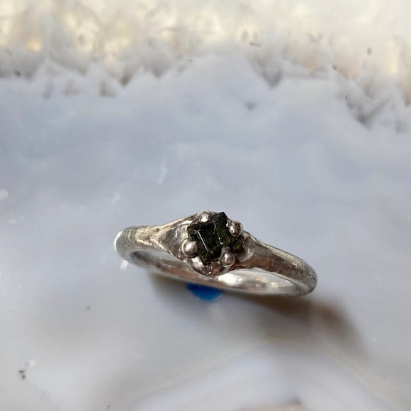 Eva Ring with Black Tourmaline - size 6 -ONE OF A KIND