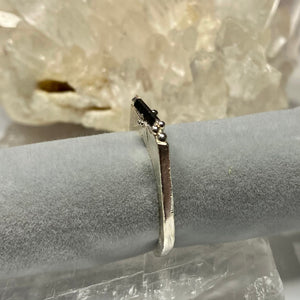 Black Tourmaline Encrusted Stacking Ring - size 8-ONE OF A KIND