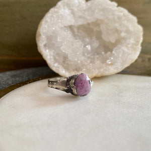 Raw Sapphire Ring - size 5 1/2 -ONE OF A KIND