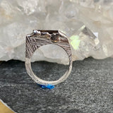 Black Tourmaline Encrusted Stacking Ring - size 6 -ONE OF A KIND