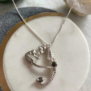 Crystal Seahorse Heart Necklace- ONE OF A KIND