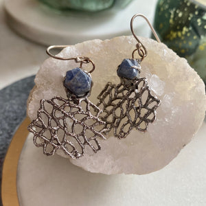 Raw Sapphire and Coral Earrings