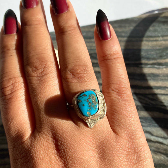 Turquoise Moon Ring- Size 8- ONE OF A KIND