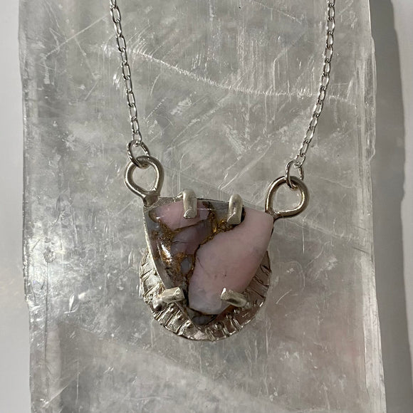 peruvian opal in bronze composite pendant necklace
