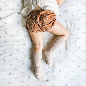 Magnolia Kids x All The Little Bows - Toffee Knee Highs + Petite Floral Bow