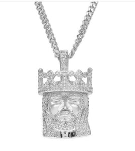 14k white gold jesus head pendant necklace icey jewels 14k white gold jesus head pendant necklace mozeypictures Gallery