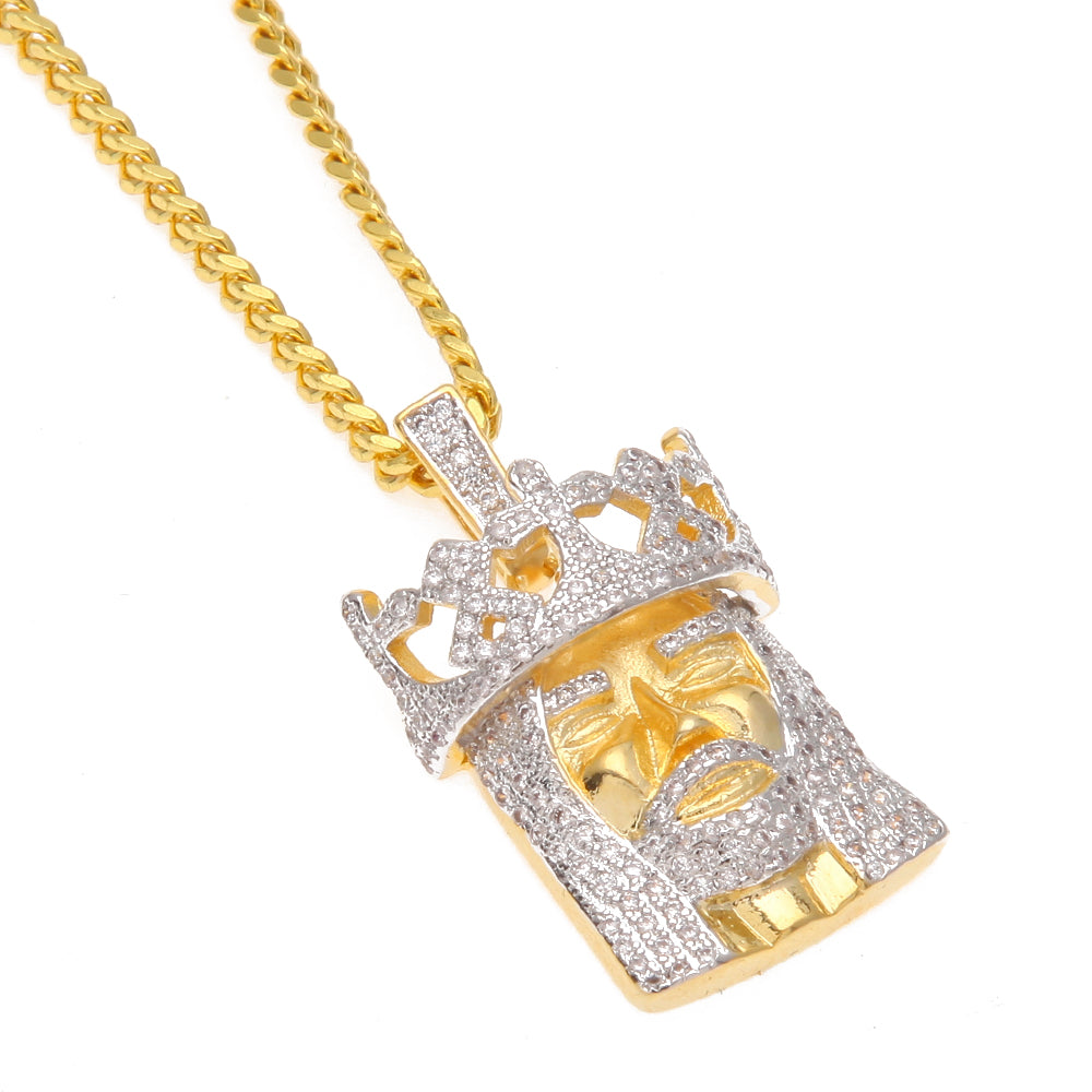Gold plated iced out jesus head pendant necklace icey jewels gold plated iced out jesus head pendant necklace aloadofball Images