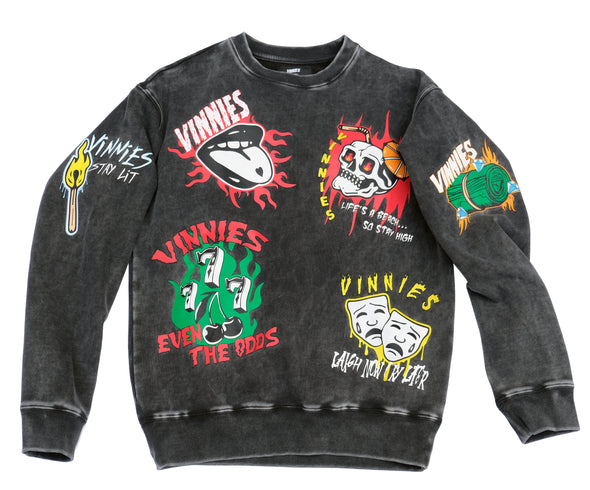 "Vinnies ""Even The Odds"" crewneck - Vintage Black"