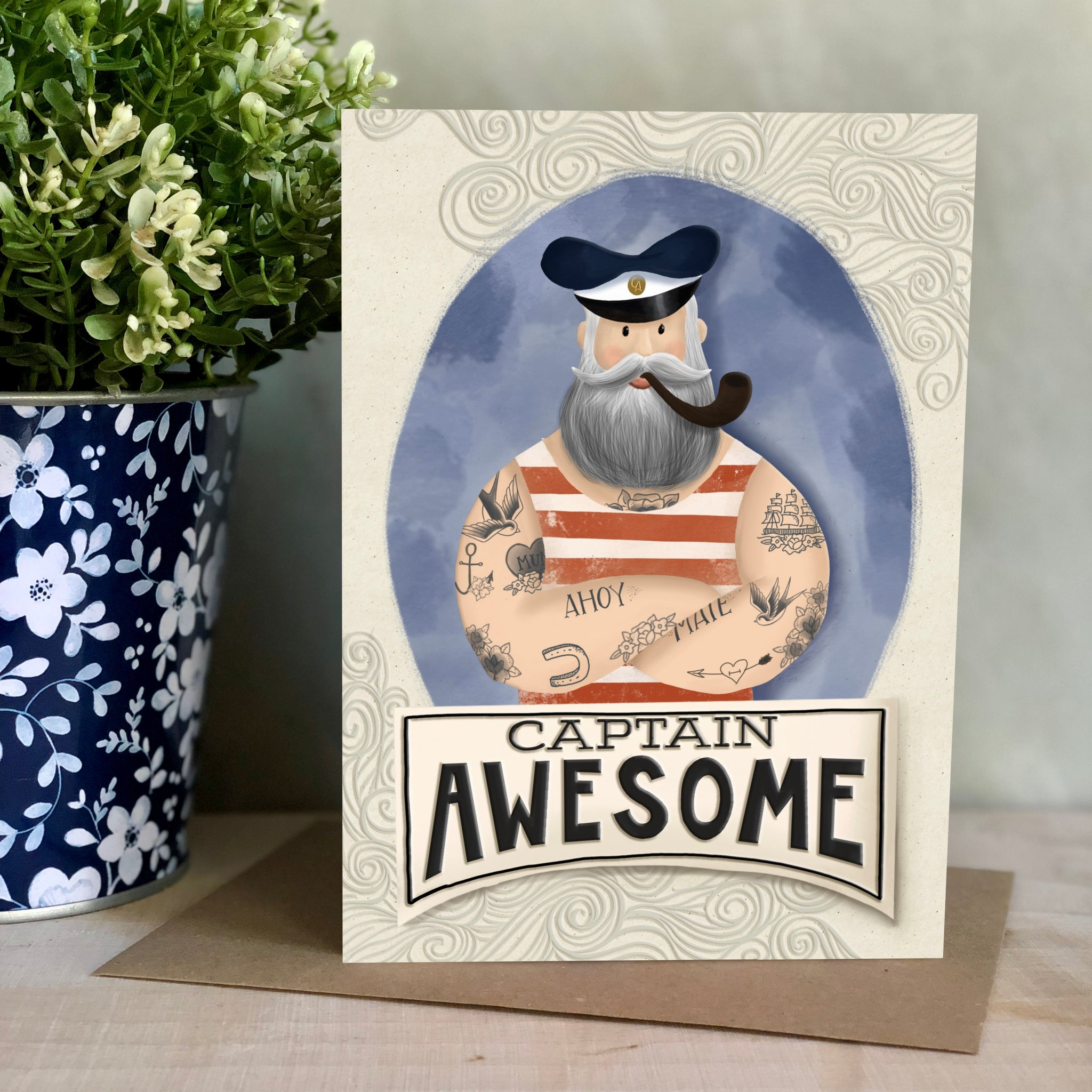 Captain Awesome Father's Day card