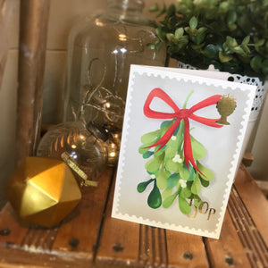 Mistletoe stamp Christmas card