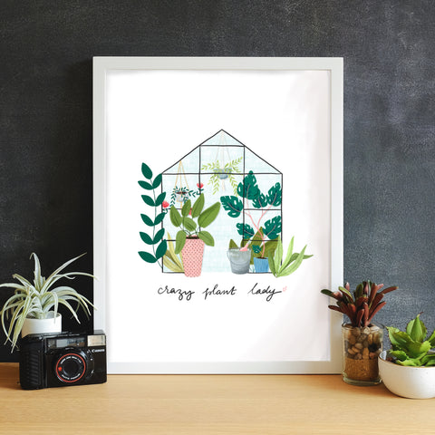 Crazy Plant Lady hand illustrated print