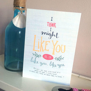 Like you, like you valentines and love card