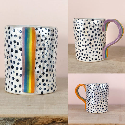 Rainbow spotty hand painted mug