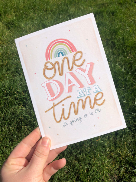 One day at a time Lockdown colouring Card