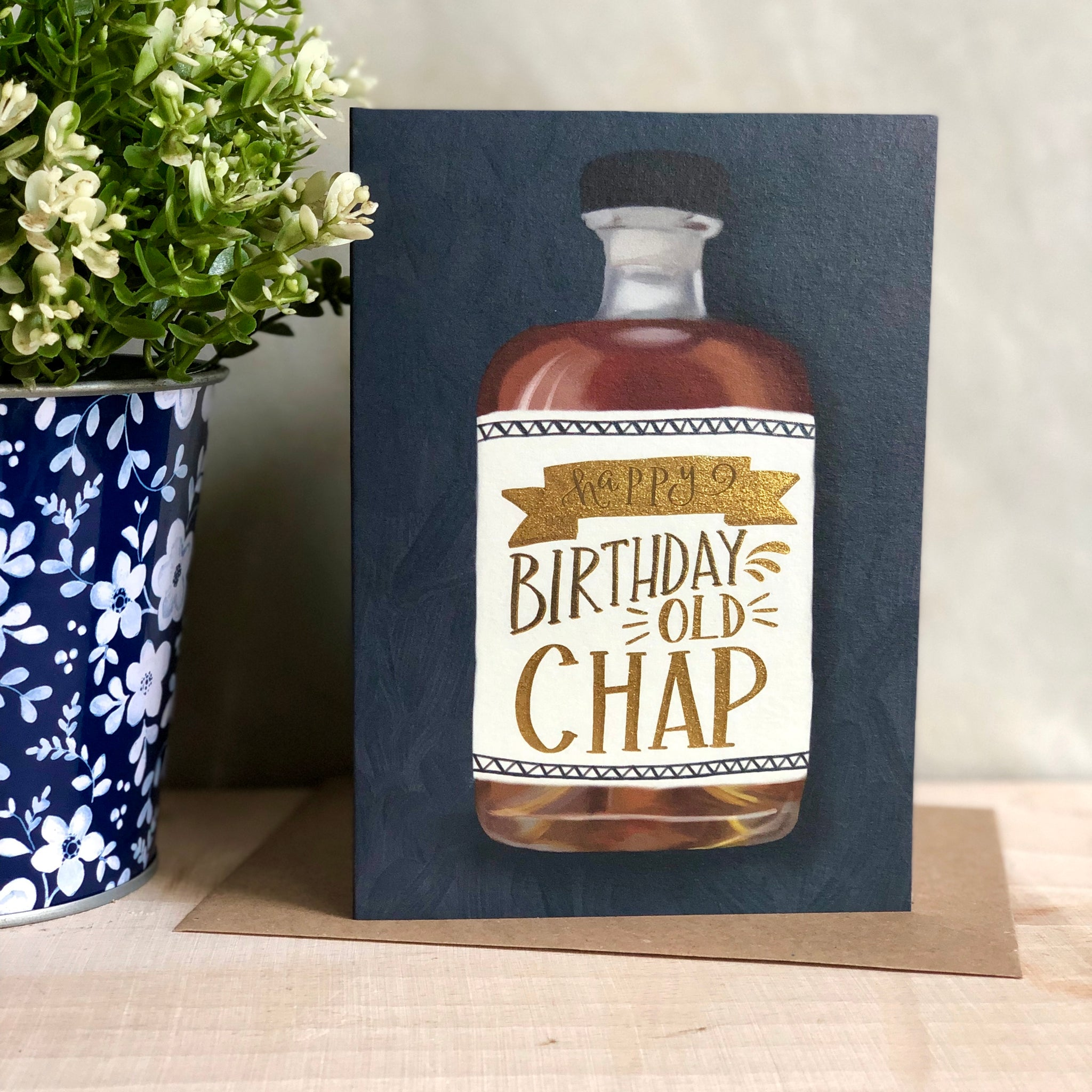 Happy birthday old chap foiled birthday card