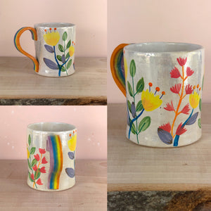 Rainbow floral hand painted mug