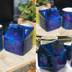Galaxy hand painted milk jug