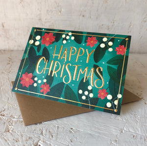 Mistletoe gold foil Christmas card